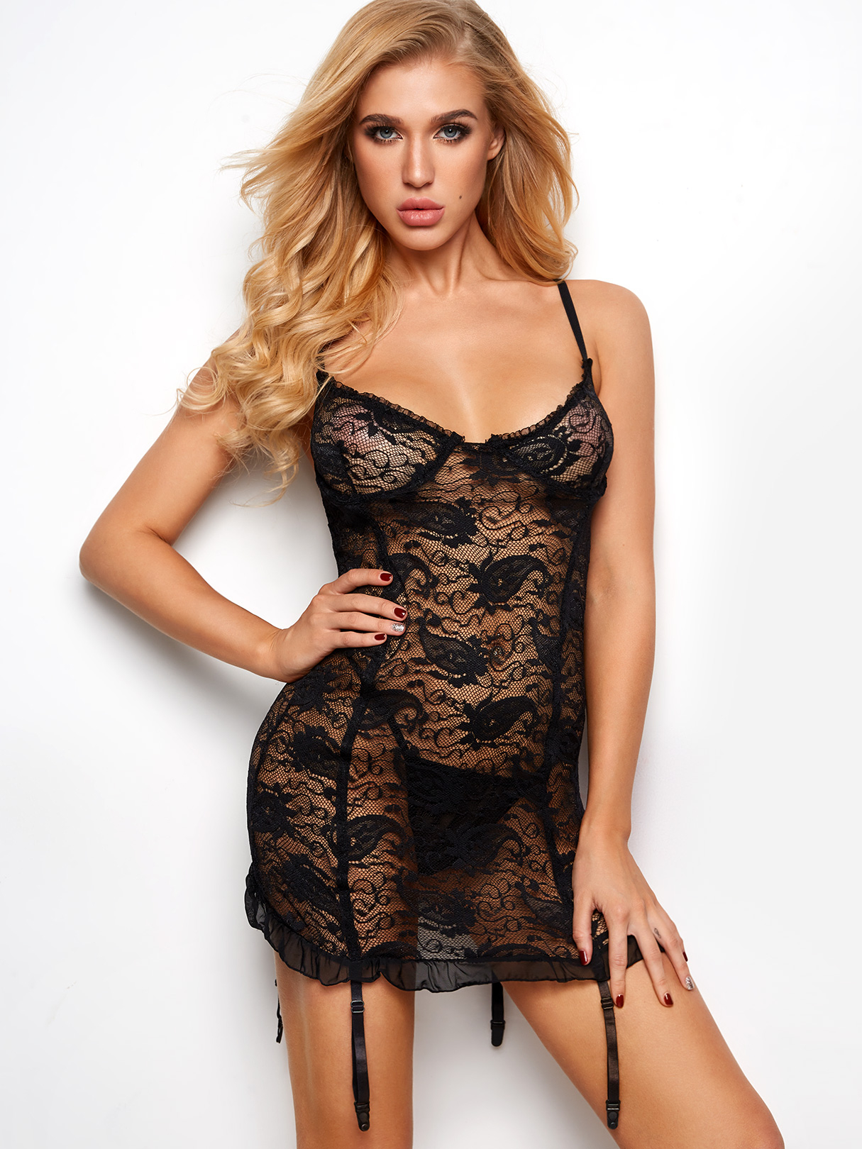 Black Lettuce Edge Floral Lace Garters Babydoll with G-strings