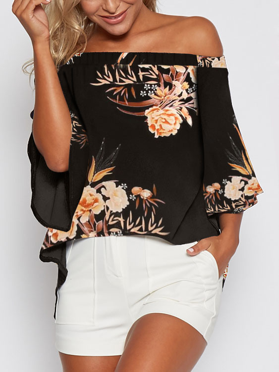 Black Random Floral Print Off Shoulder Blouse