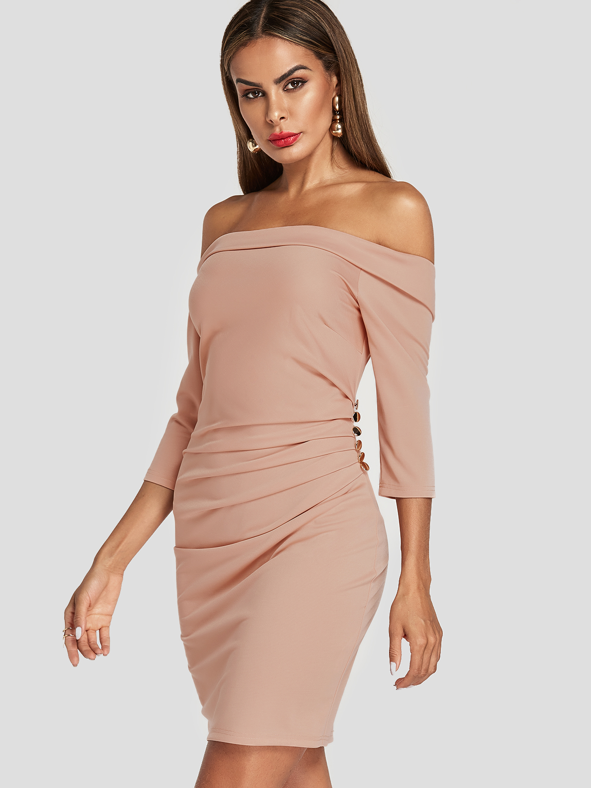 Pink Off Shoulder Pleated Design Bodycon Dress