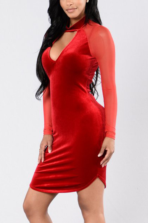 Red Velvet Hollow Front Raglan Meshed Sleeves Party Dress