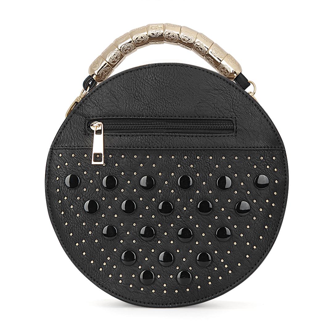 Black Round Leather-look Handle Bag with Button and Rivet Embellishment