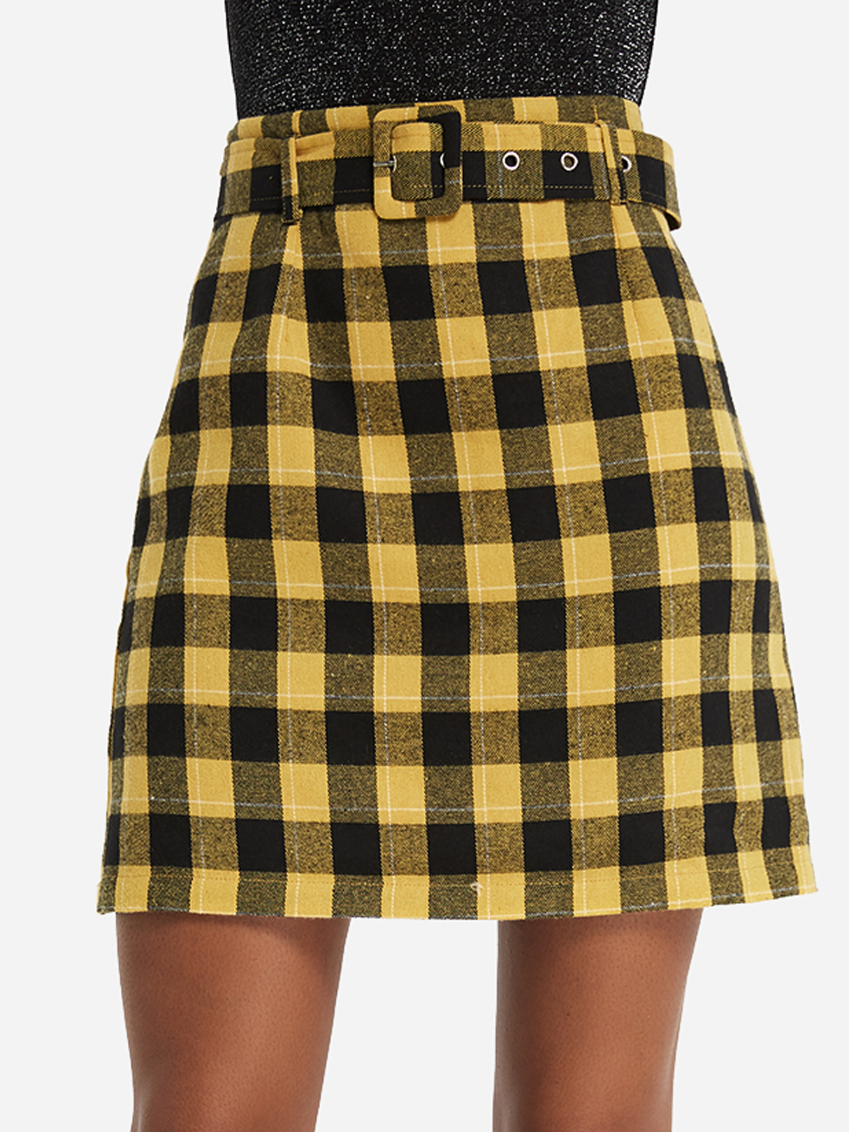 Yellow Belt Design Grid Mini Skirt