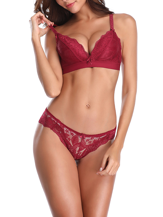 Red Bowknot Detail Wireless Lace Bra Set