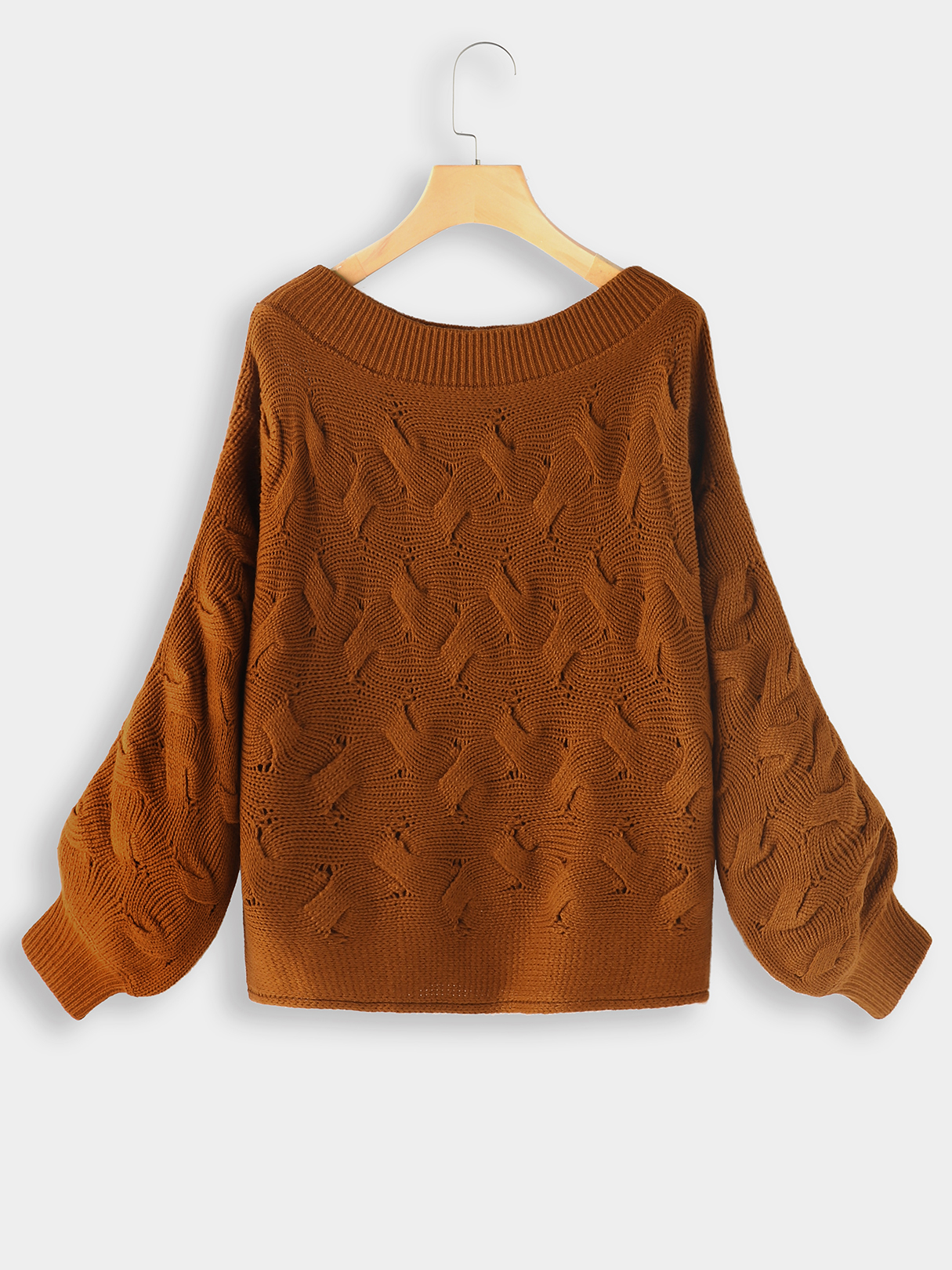 Brown Twist Knitted One Shoulder Sweater