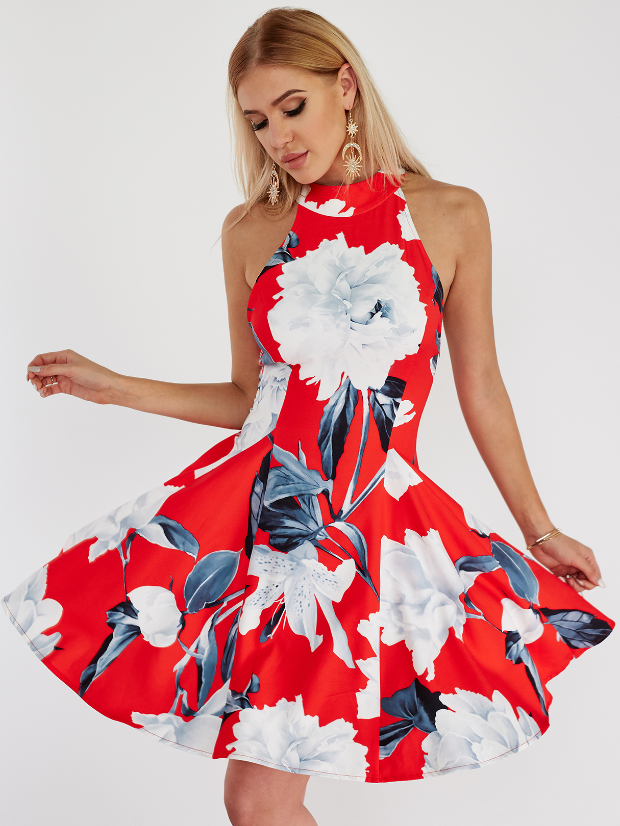 Red Halter Neck Blackless Floral Skater Dress