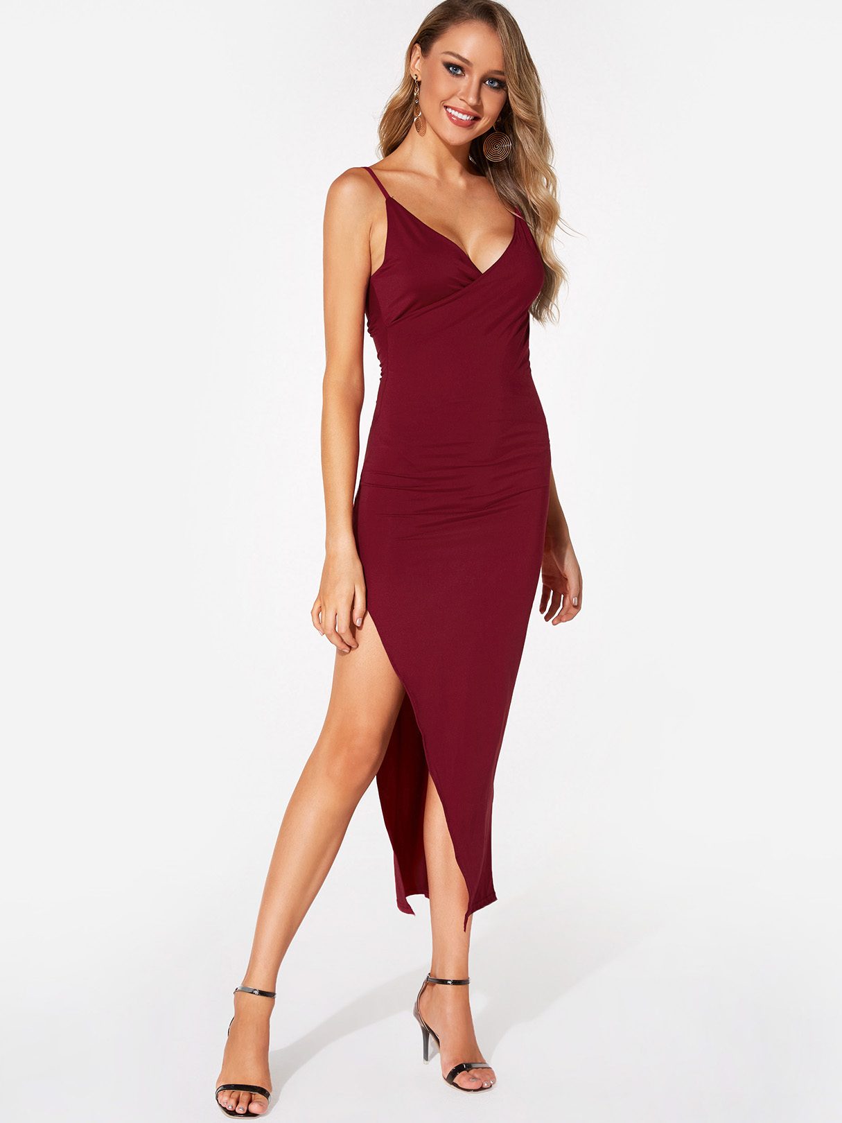 Burgundy Sexy Deep V Neck Elastic Shoulder Strap Maxi Party Dress With Slit Hem