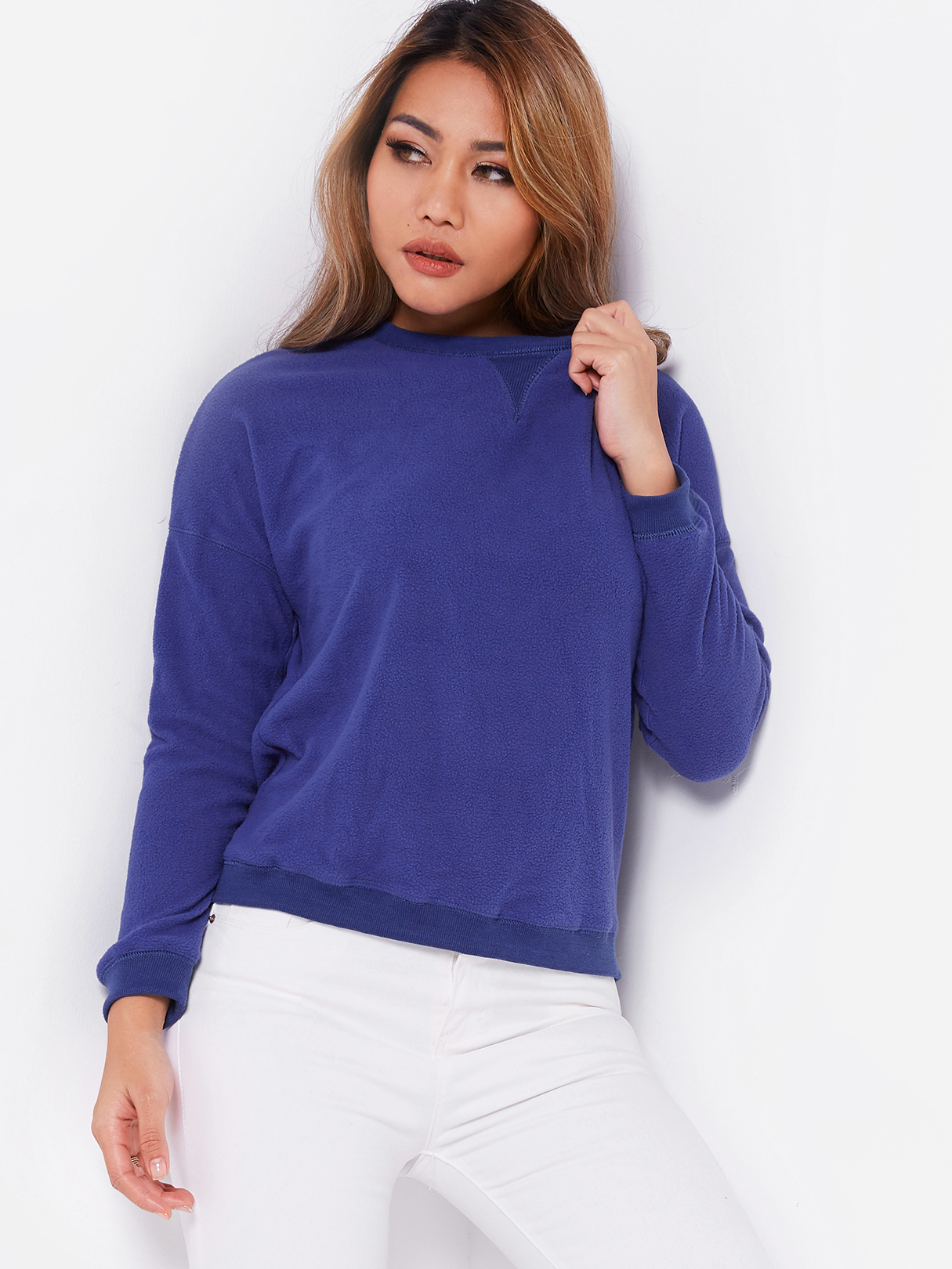 Blue Round Neck Long Sleeves Casual Sweatshirt