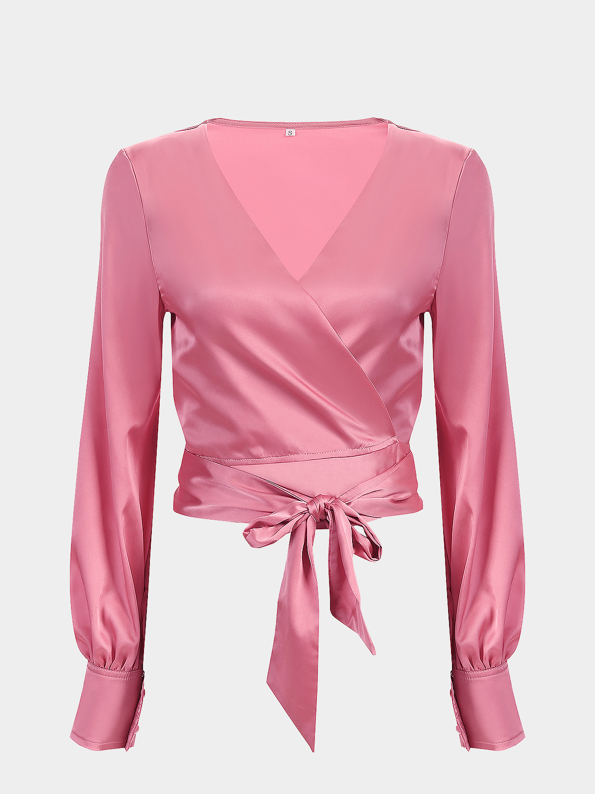 4d3b5ade768 V-neck Wrap Front Top with Long Sleeves - US$13.95 -YOINS