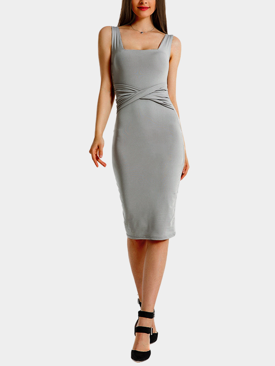 Grey Pleated at Waist Knee Length Dress