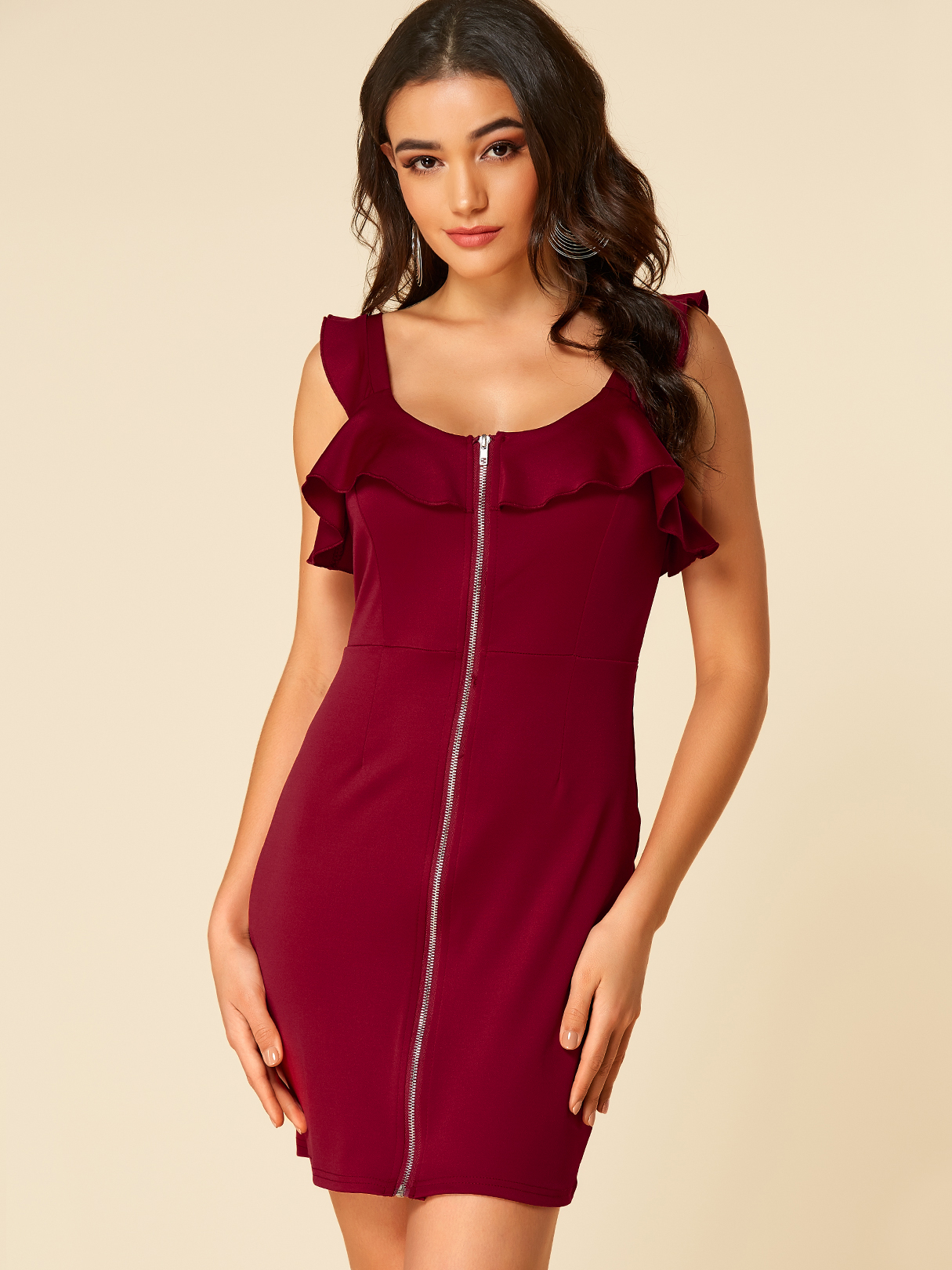 Burgundy Zip Front Flounce Details Bodycon Dress