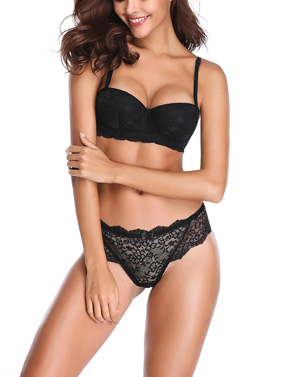 Black Multi-Way Push-Up Underwire Lace Bra Set
