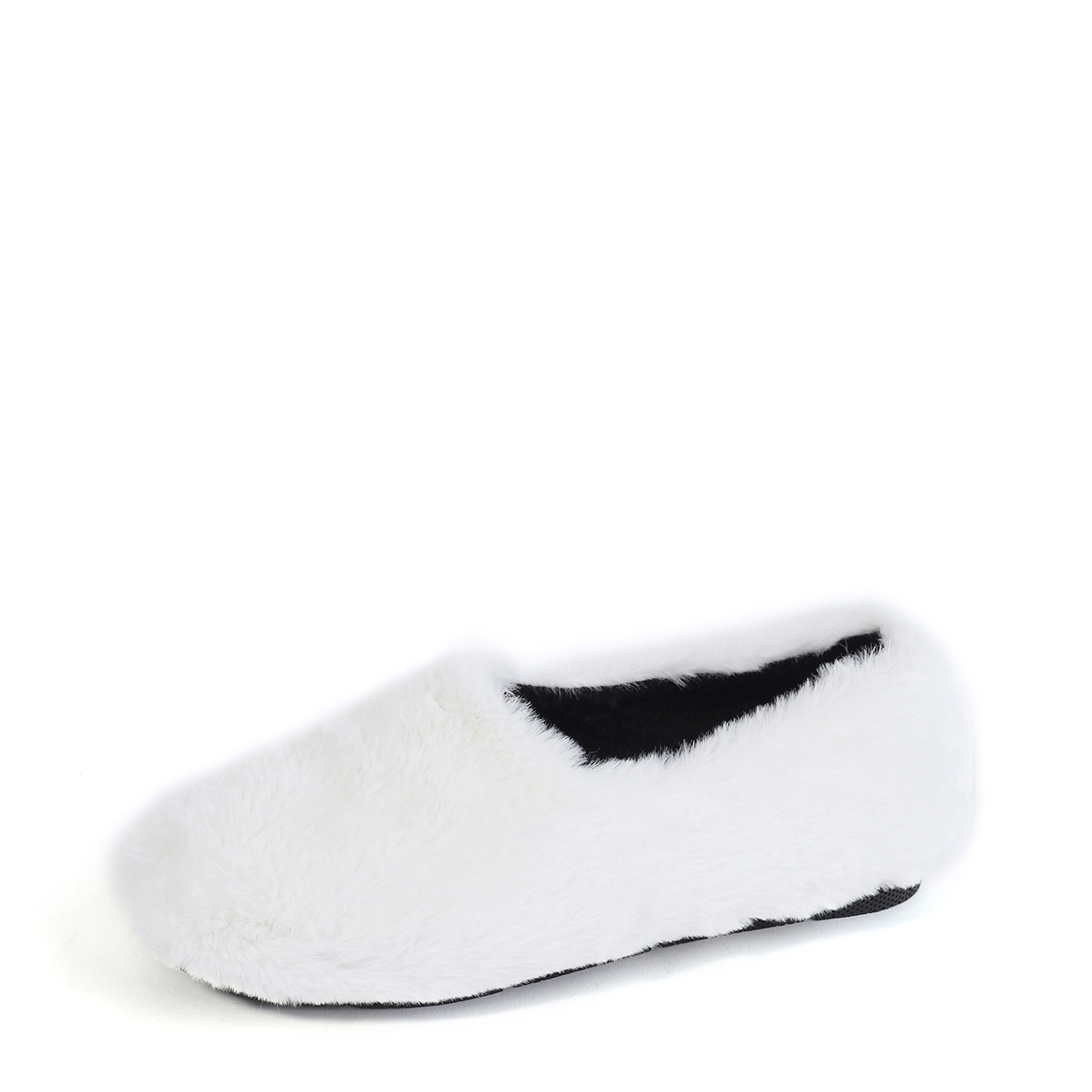 White Slip-on Faux Fur Casual Shoes