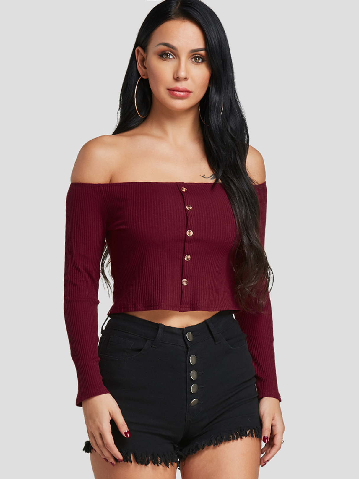 Burgundy Off The Shoulder Knitted Crop Top
