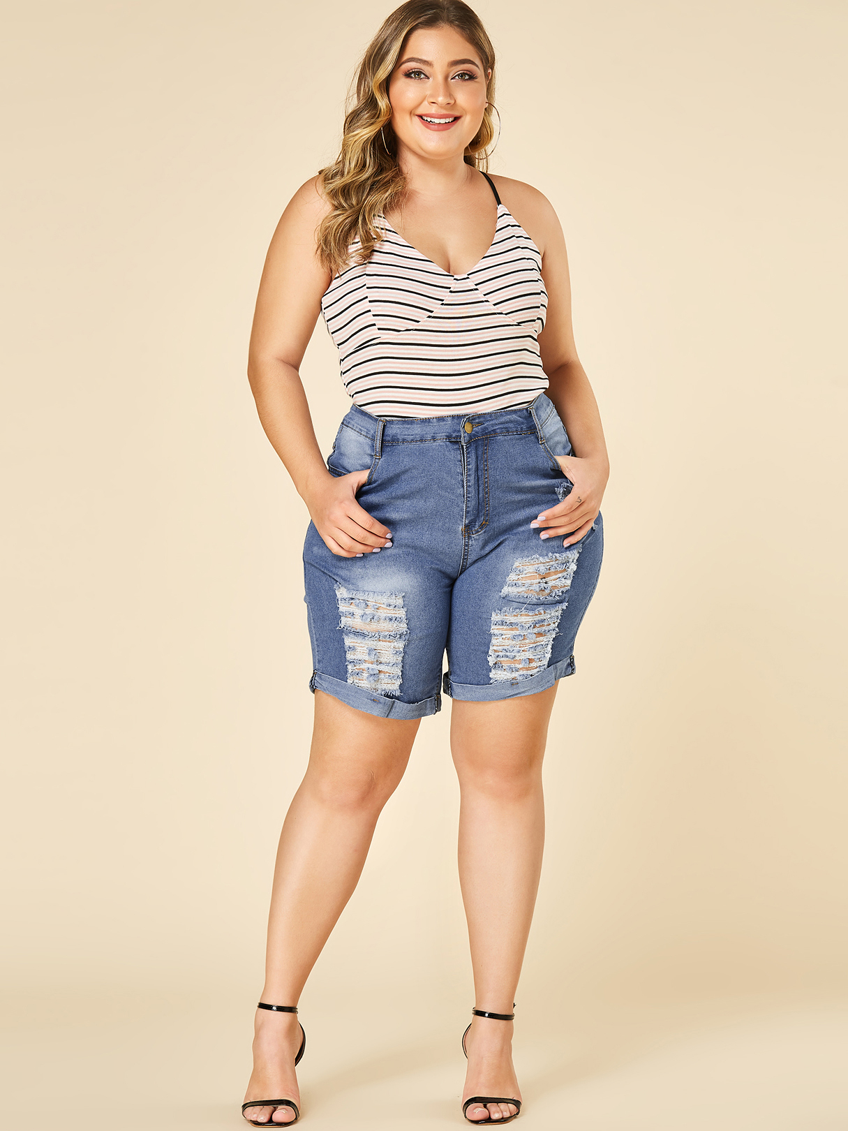 Plus Size Blue Random Ripped Middle-Waisted Jeans
