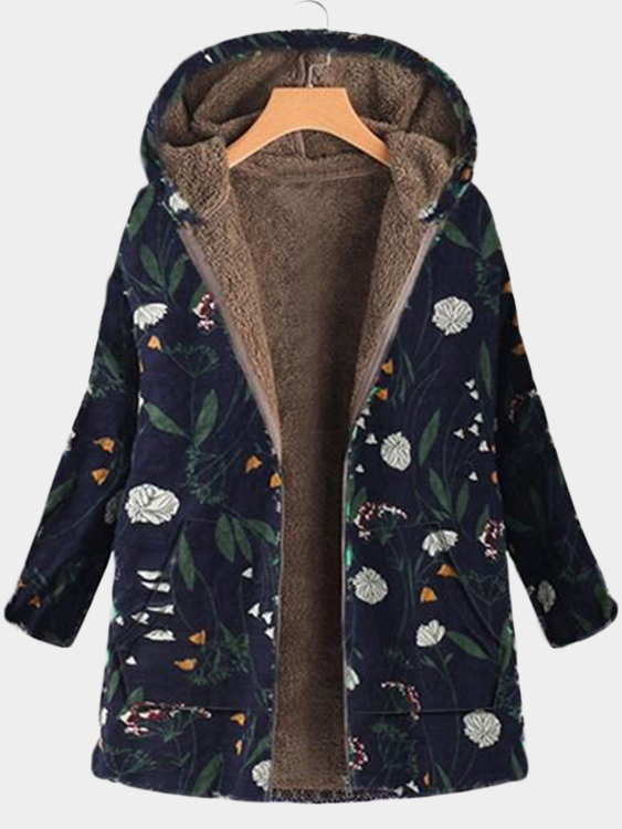 Navy Hooded Design Calico Print Long Sleeves Fluffy Lining Coat