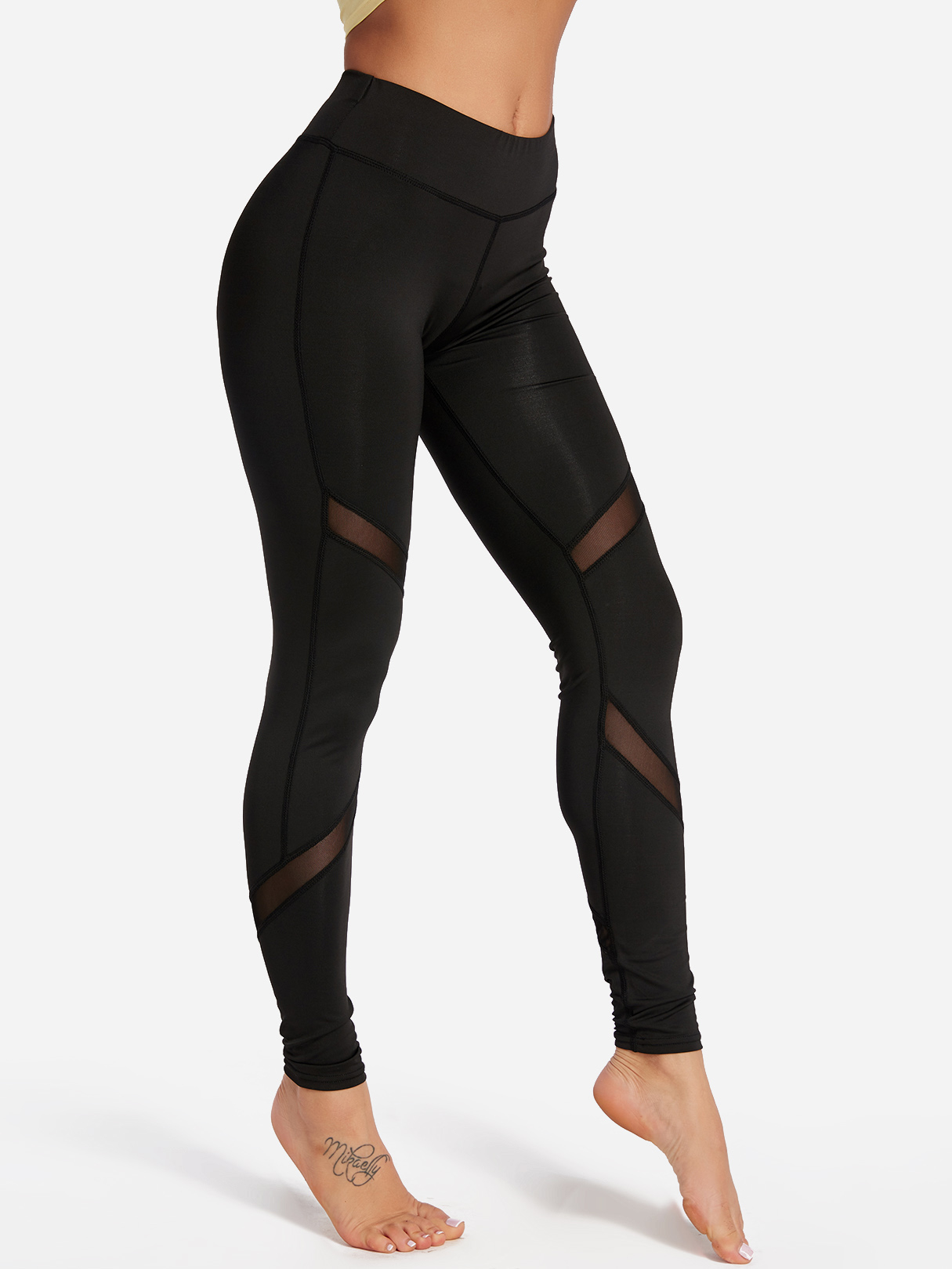 Active Net Yarn Stitching Quick Drying High Waisted Leggings in Black
