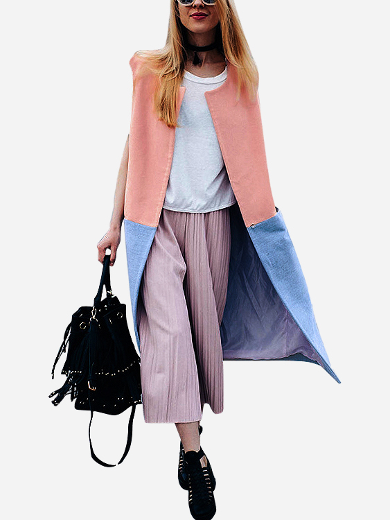 Pink And Blue Fashion Sleeveless Color Block Cardigans