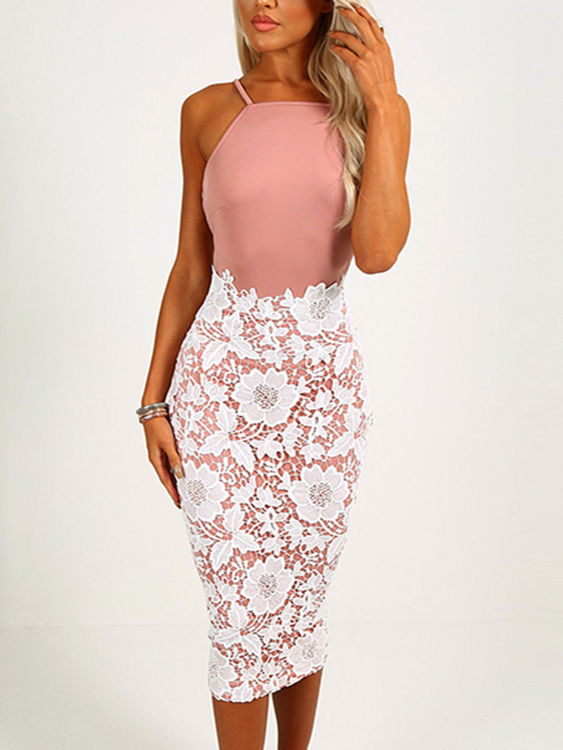 Pink Lace Insert Halter Backless Bodycon Midi Dresses