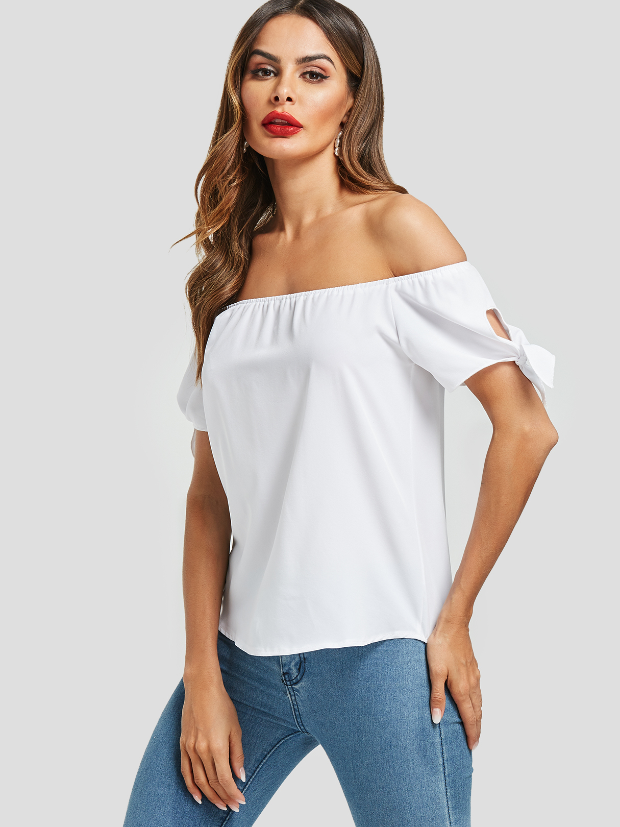 White Self-tie Design Off The Shoulder Top