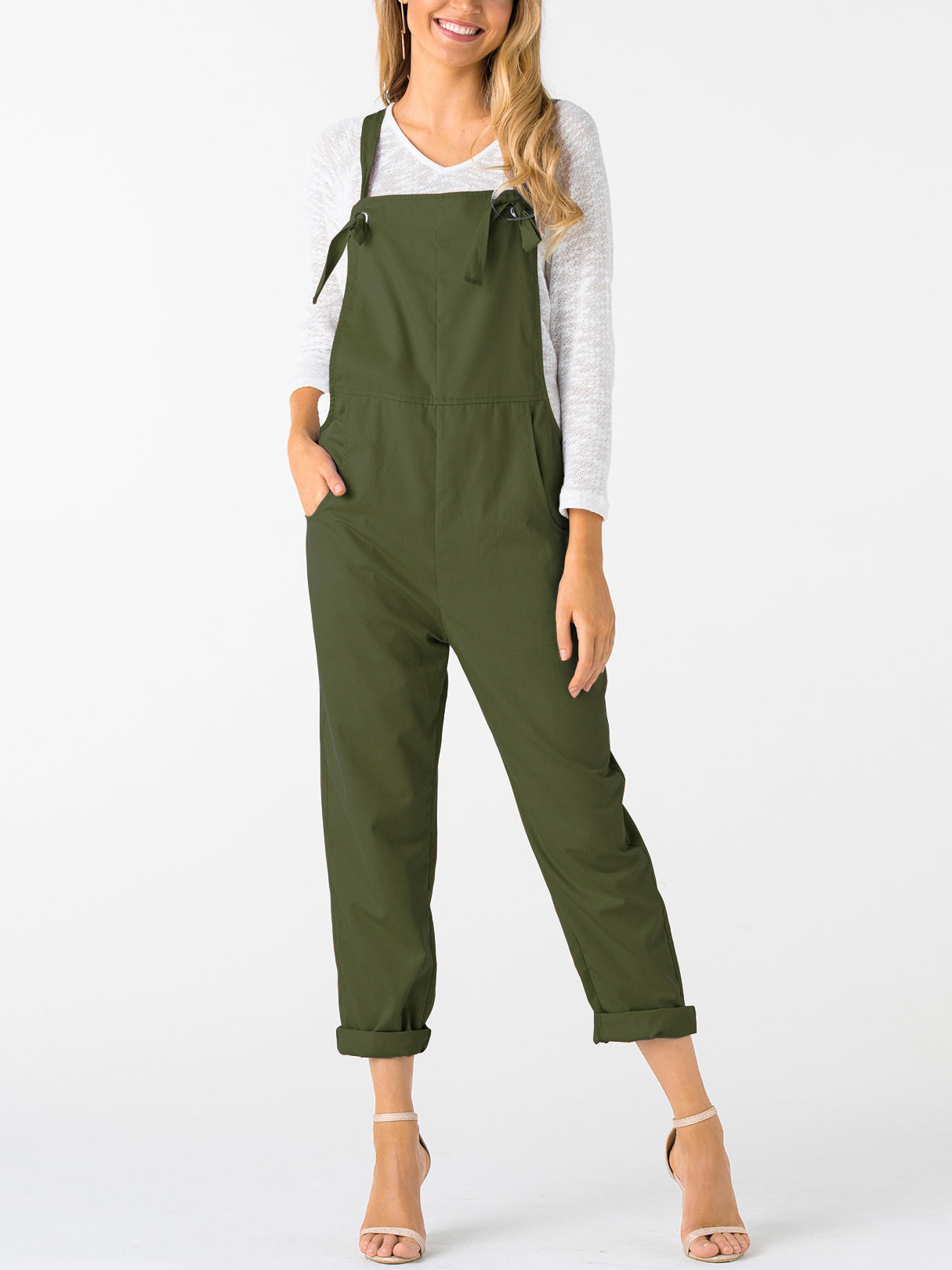 Army Green Square Neck Sleeveless Overall Outfits
