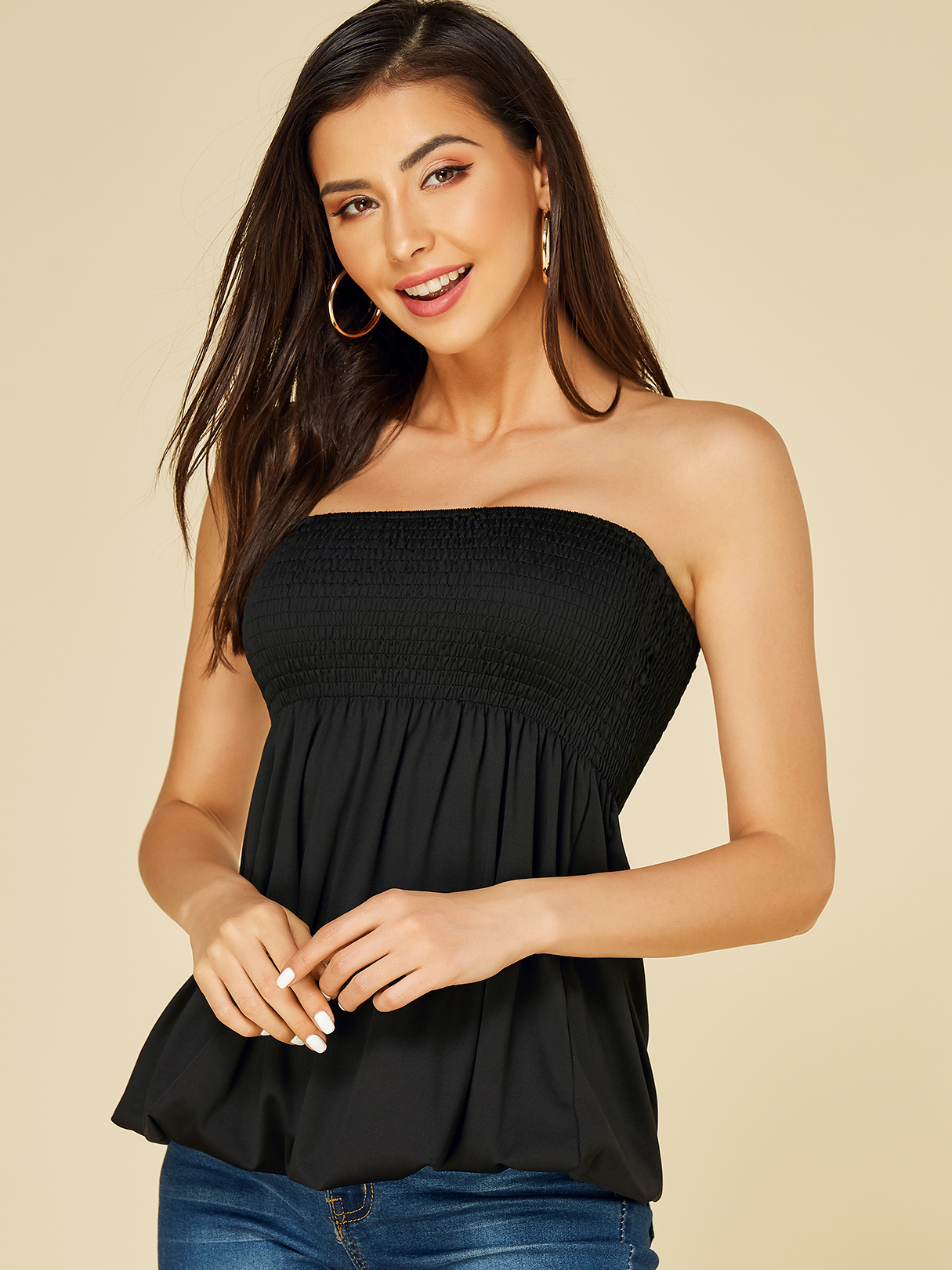 Black Shirred Strapless Pleated Camis