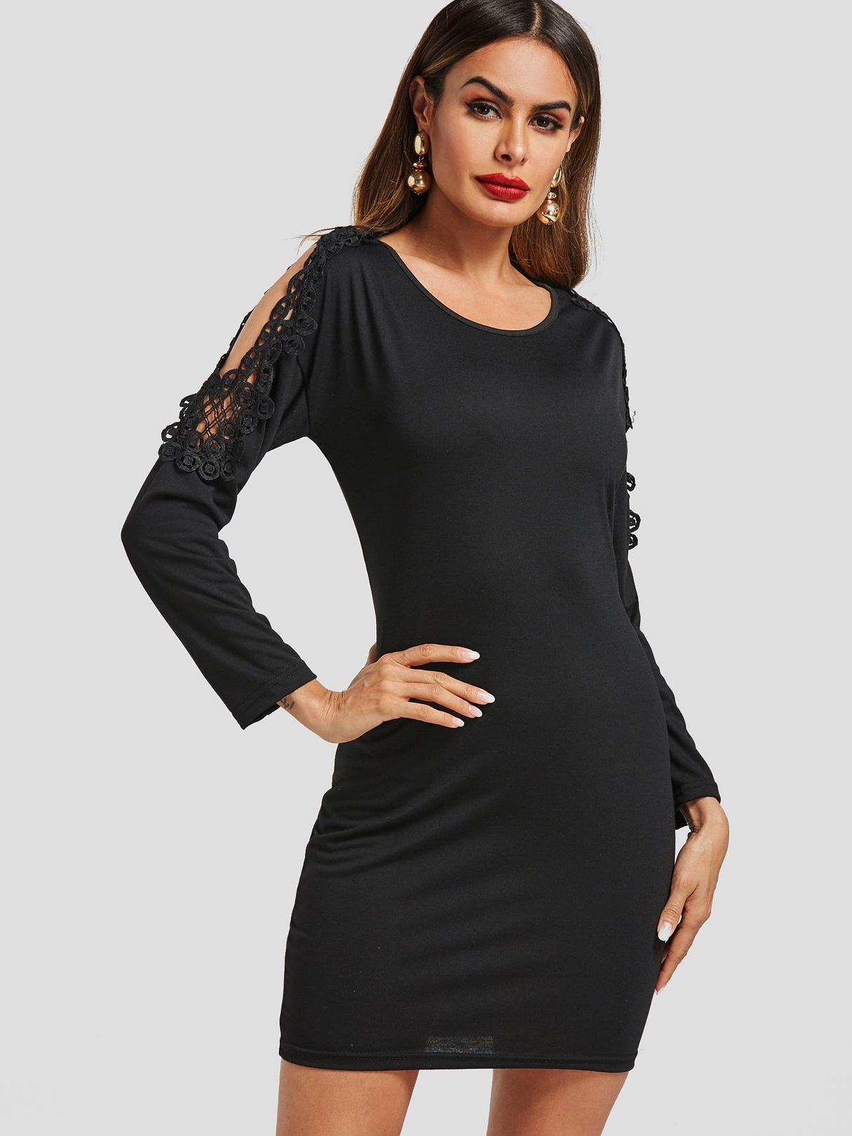 Black Lace Insert Cold Shoulder Mini Dress