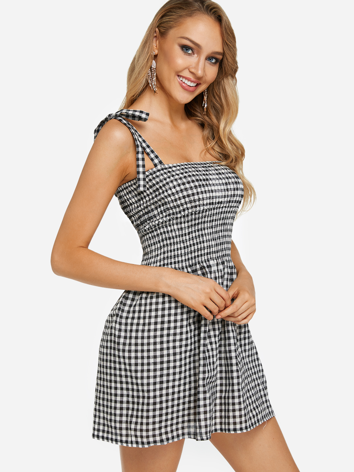 Black and White Grid Pattern Straight Neck Sleeveless Dresses