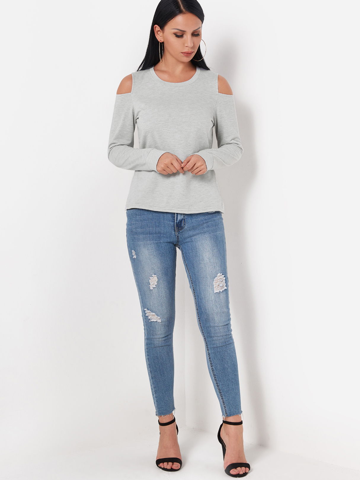 Grey Cold Shoulder Long Sleeves Top