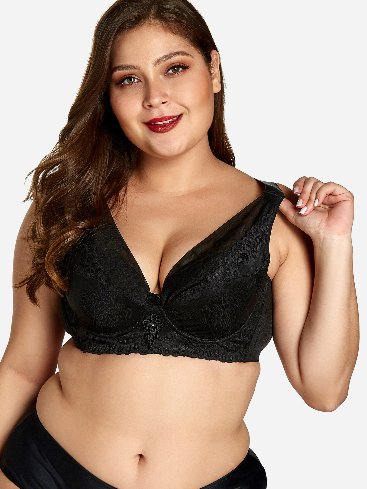 Plus Size Black Embroidered Bra With Wire