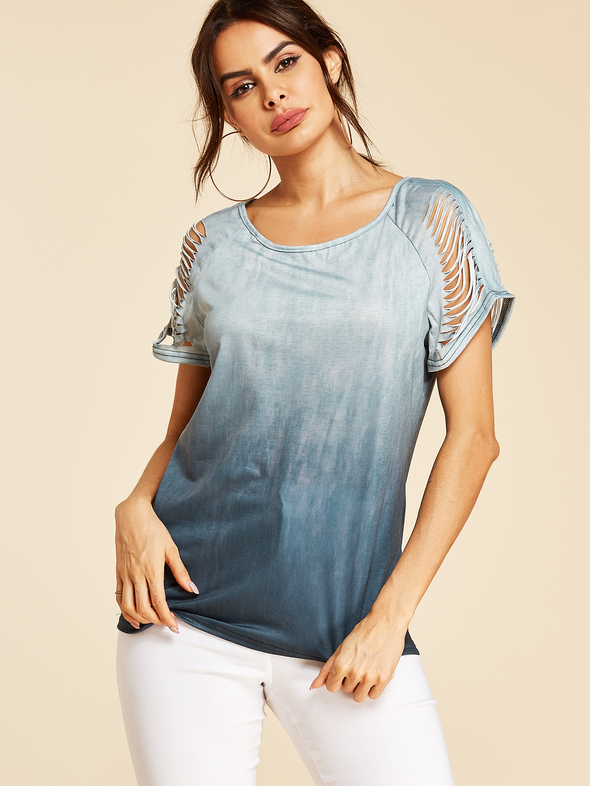 Green Ombre Cut Out Round Neck Short Sleeves Tee