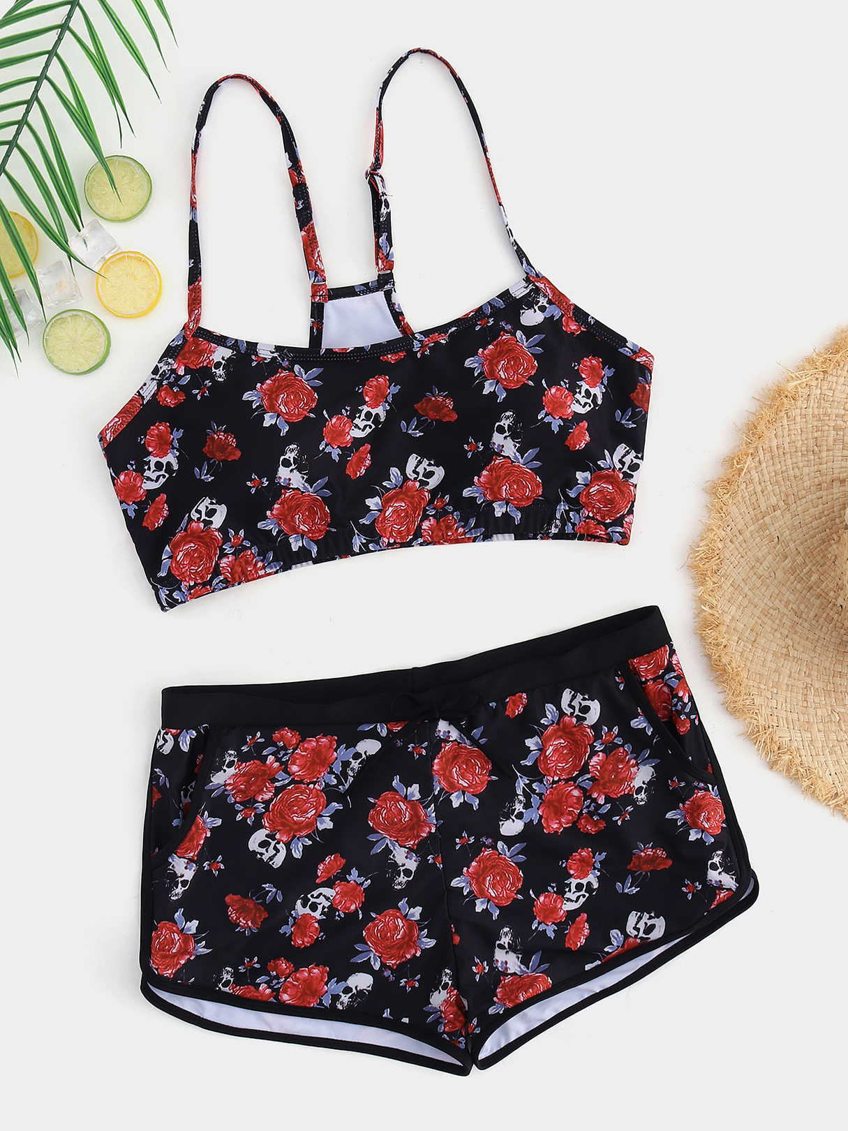 Plus Size Floral Print Adjustable Shoulder Straps Swimwear