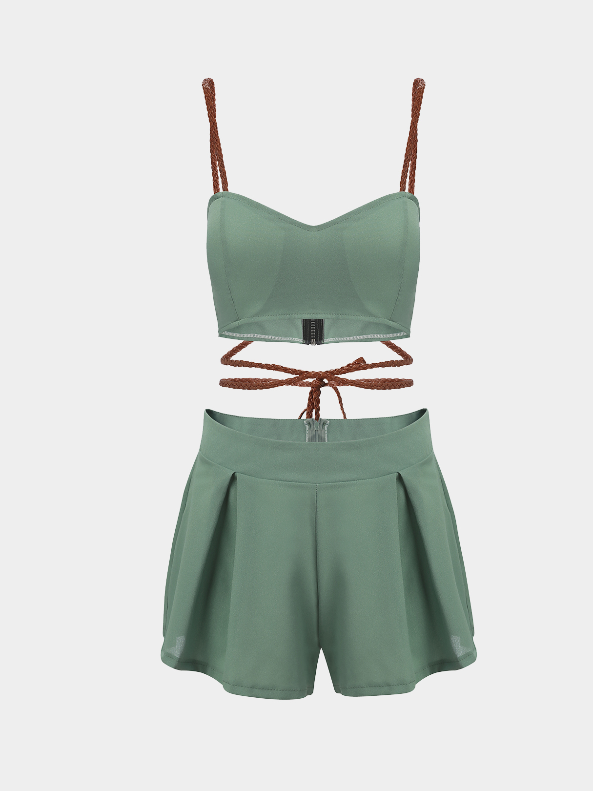 Crossed Chain Crop Top And Pleated Hem Skorts Co-ord