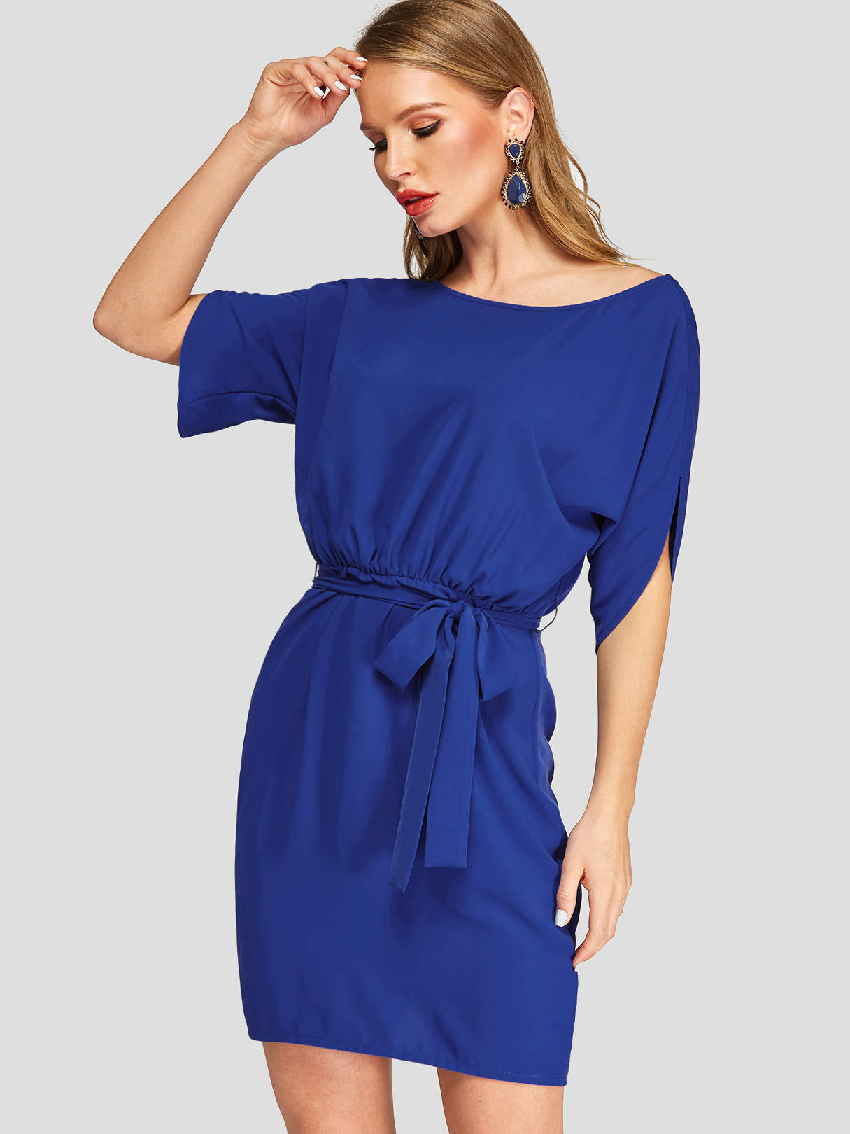 Royal Blue Falling Shoulder sleeve Work Dress with Belt