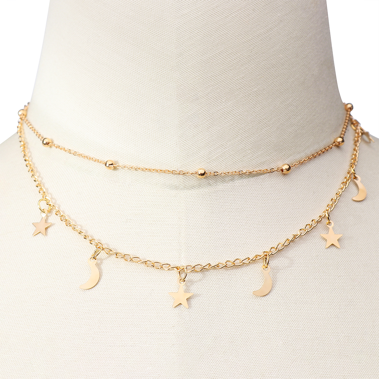 Beads Detail Moon Star Pendant Chain Necklace, Gold