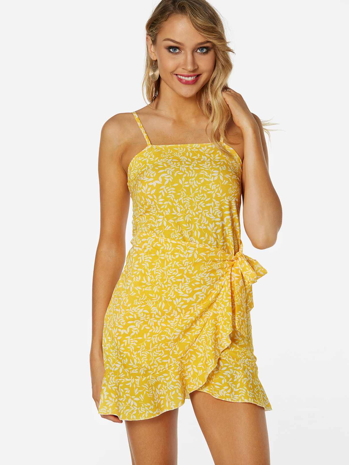 Yellow Random Floral Print Self-tie Design Backless Sleeveless Spaghetti Strap Dress