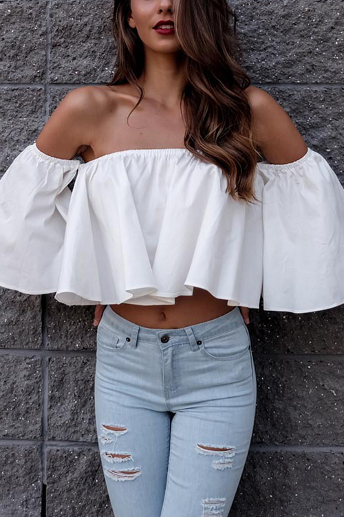 White Off-The-Shoulder Ruffled Details Crop Top