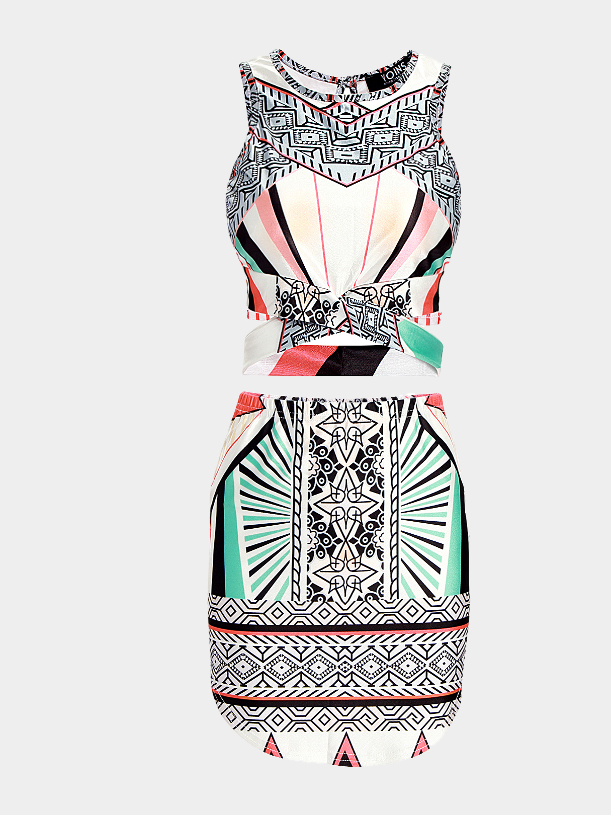 Geometrical Pattern Co-ord with Crew Neck