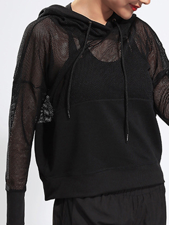 Active Cut Out Net Yarn Long Sleeve Tops in Black