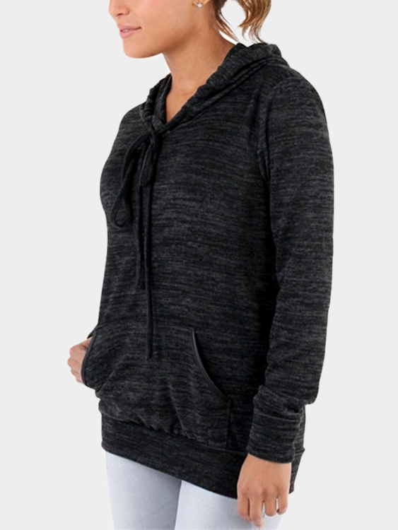 Black Front Patch Pocket Long Sleeves Hooded Sweatshirts