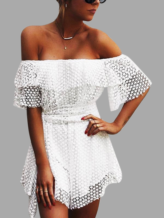 White Lace Details Off The Shoulder Short Sleeves Drawstring Waist Dresses