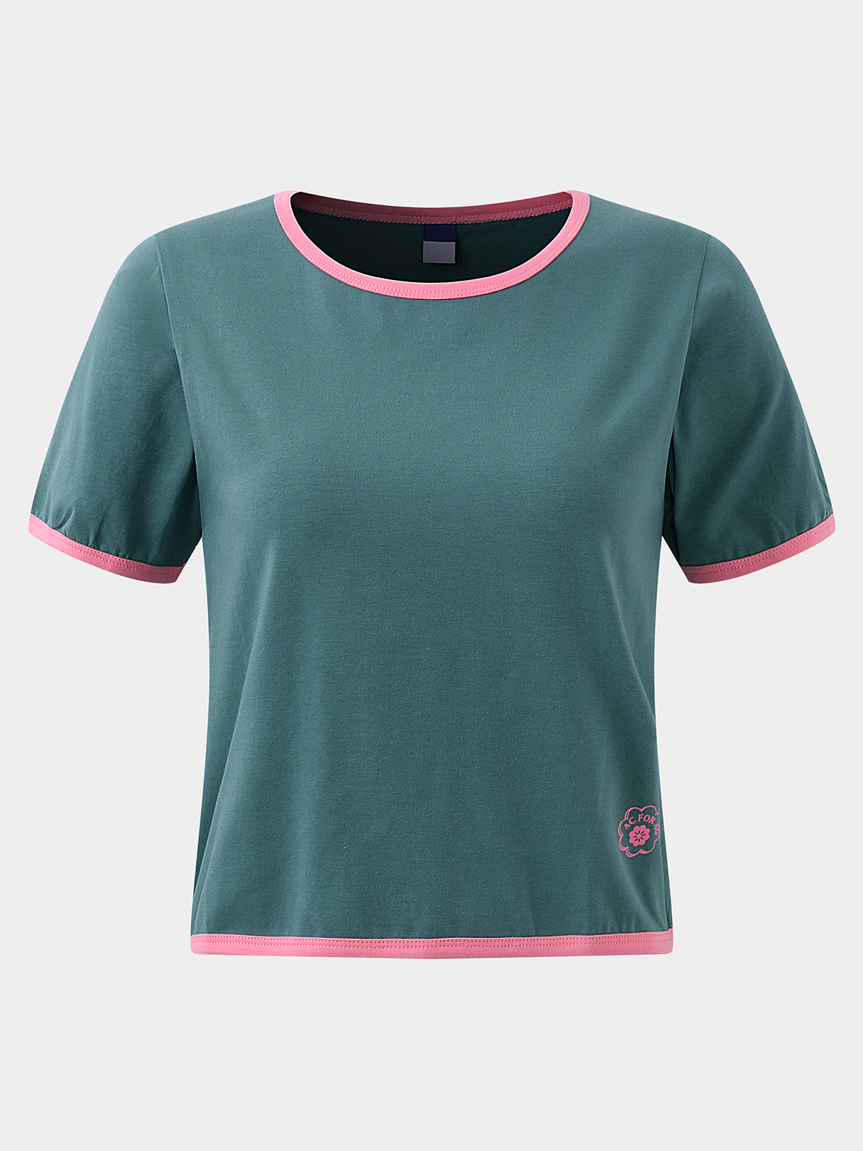 Active Round Neck Cut Out Elastic T-shirts in Green