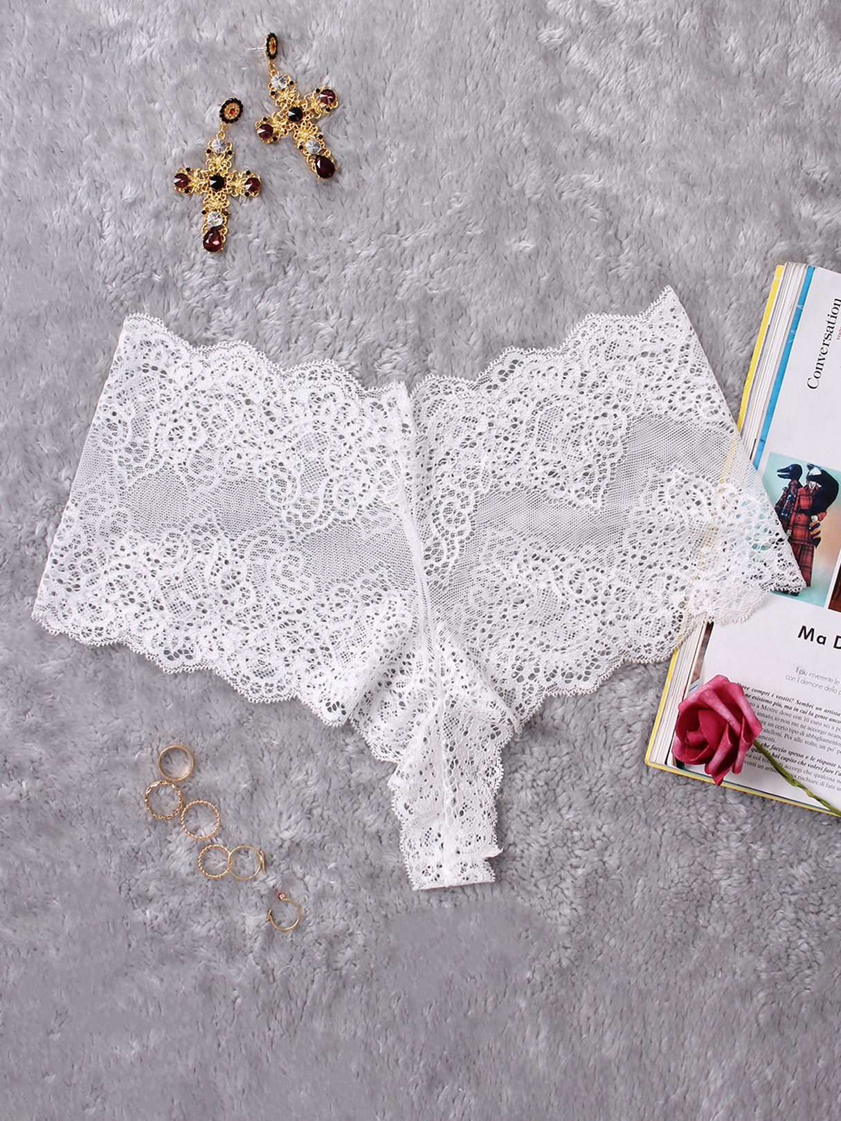 White High-rise Lace Hipster