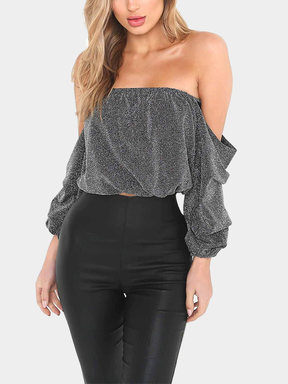 Light Grey Off-the-shoulder Top