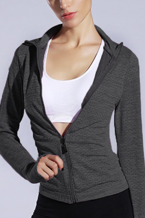 Active Lapel Collar Quick Drying Zip Design Windbreaker Jacket in Grey