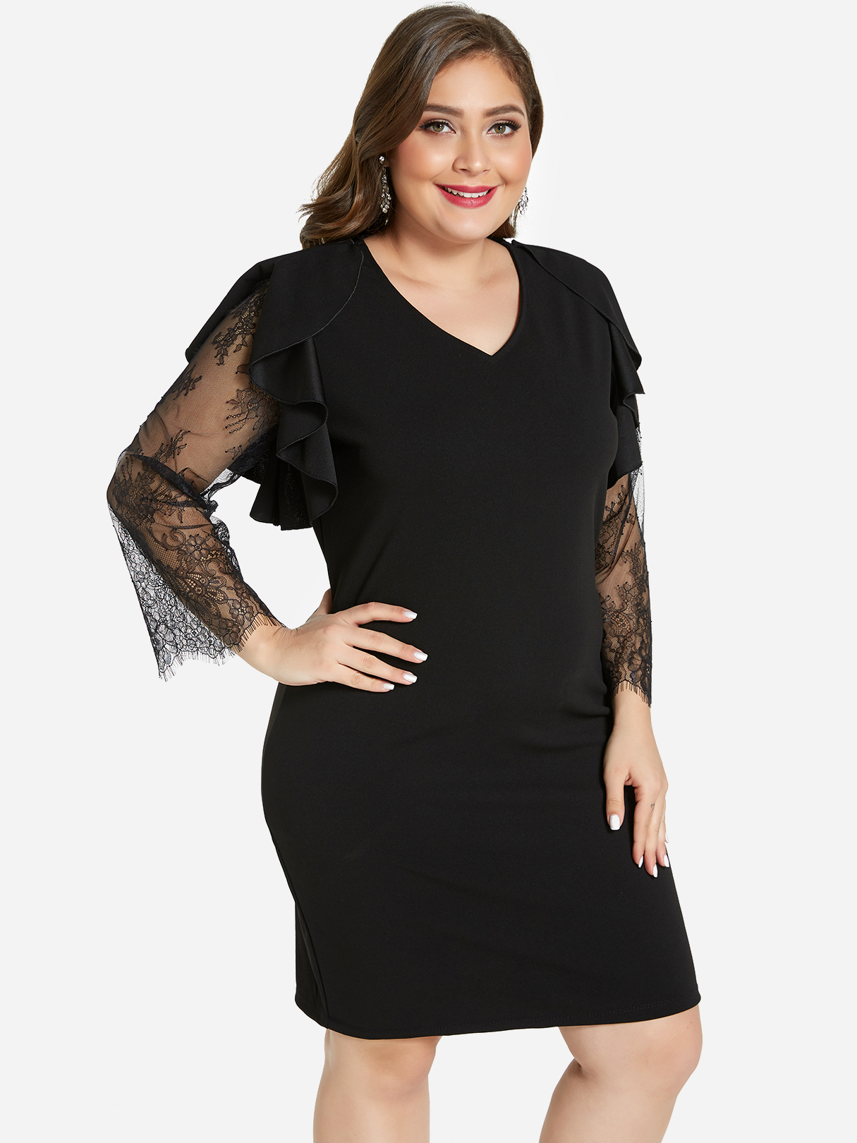 Plus Size Black Lace Sleeves Midi Dress