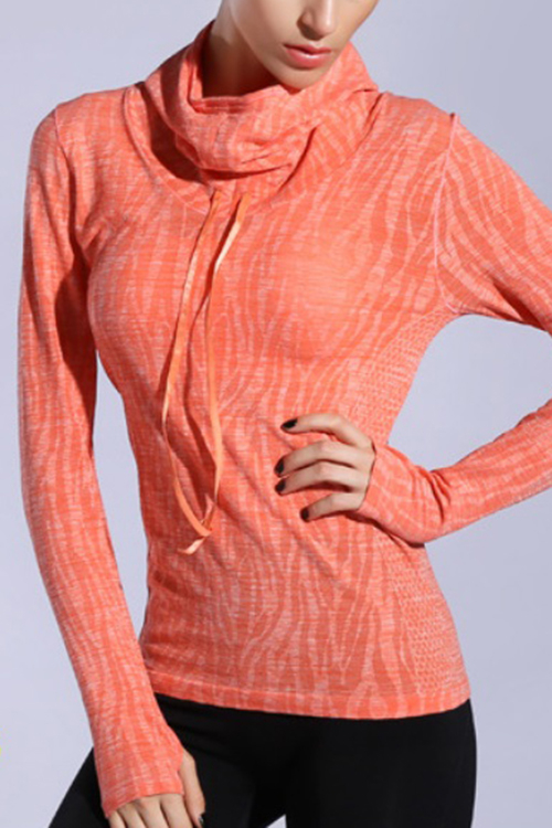 Active Pullover Neck Quick Drying Stretchy Sports Hoodies with Mitten in Orange