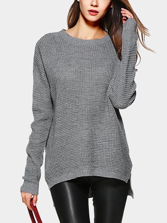 Grey Round Neck Long Sleeves Jumper