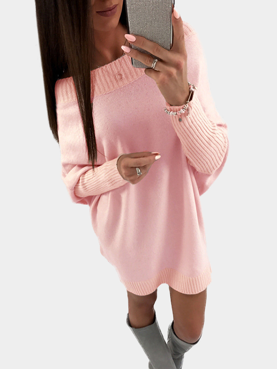 Pink Pullover Long Sleeves Sweater Dress