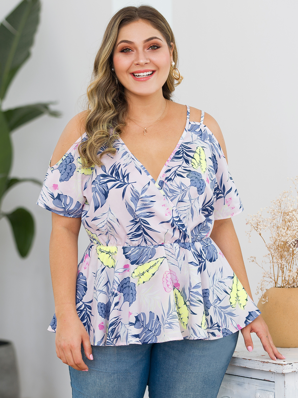 Plus Size Floral Print Cold Shoulder Short Sleeves Blouse, White