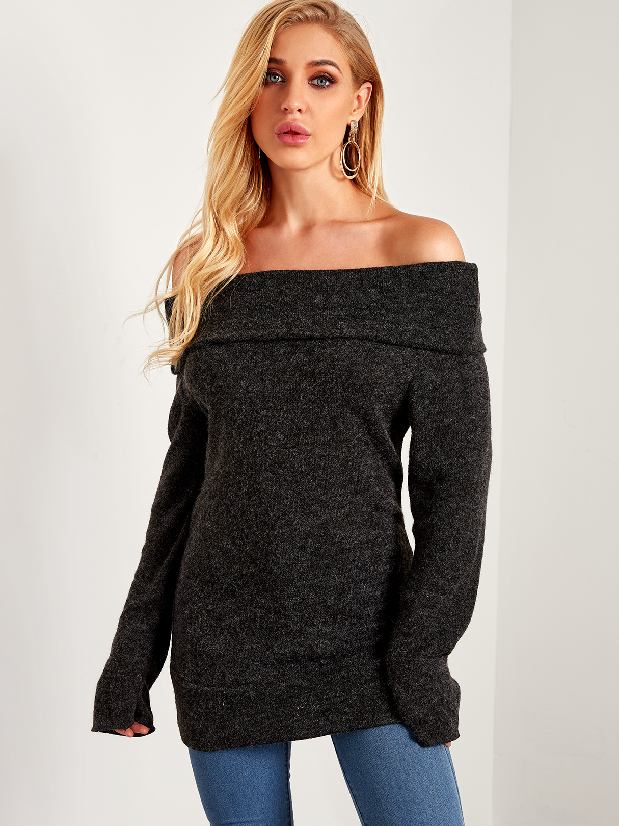 Black Backless Design Plain Off The Shoulder Overlay Long Sleeves Sweaters